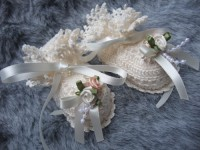 ANGEL SHOES 004 LOVELY SOFT IVORY THREAD CROCHET BOOTIES FOR 0-3 MTH BABY OR REBORN DOLL