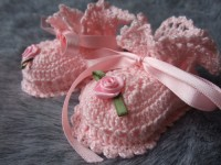 ANGEL SHOES 006..TINY PALEST PINK THREAD CROCHET BOOTIES FOR A PREMATURE BABY