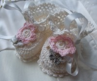 ANGEL SHOES 125..PRETTY IVORY THREAD CROCHET BABY SHOES 0-3MTHS.