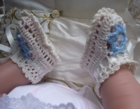 ANGEL SHOES 116..IVORY THREAD CROCHET BABY SHOES FOR SMALL NEWBORN