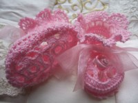 ANGEL SHOES 118.. PALE PINK THREAD CROCHET  BABY SHOES 0-3MTHS.