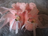 ANGEL SHOES 121..PALEST PINK THREAD CROCHET CHRISTENING SHOES 0-3 MTHS