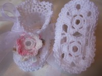 ANGEL SHOES 122..WHITE THREAD CROCHET CHRISTENING SHOES 0-3MTHS.