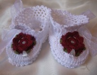 ANGEL SHOES 123..WHITE THREAD CROCHET CHRISTENING SHOES 0-3MTHS.