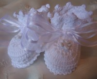 ANGEL SHOES 134..WHITE THREAD CROCHET BABY CHRISTENING SHOES 0-3MTHS.