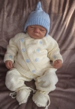 KNITTING PATTERN KSB 18*** BAGGINS**CARDIGAN, LEGGINS AND HAT SET FOR A NEWBORN BABY OR REBORN DOLL