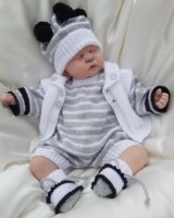 KNITTING PATTERN KSB 34***CHESTER***STRIPED SHORT ROMPERS AND HAT, WITH WIASTCOAT AND BOOTIES TOO.,
