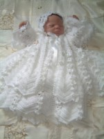 CROCHET PATTERN KSB 15 DAISY CHAIN** CHRISTENING GOWN SET 0-6 MTHS.
