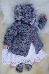 KNITTING PATTERN KSB..109 FAIRYTALES, 4 SYLES OF COAT WITH A HAT, BONNET AND SHOES IN 3 SIZES.