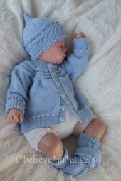 KNITTING PATTERN KSB 114..PIPKIN. A CARDIGAN, PANTS, HAT & BONNET AND BOOTIES IN 3 SIZES