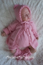 KNITTING PATTERN KSB 115..BABETTE. A COAT, ROMPERS, HAT & BONNET AND BOOTIES IN 3 SIZES