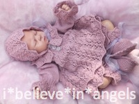 KNITTING PATTERN KSB 49 CLOVER  .. 4 PIECE SET FOR A BABY GIRL OR REBORN DOLL