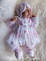 KNITTING PATTERN KSB..50 BLESSINGS. TO MAKE A CHOICE OF MATINEE SETS IN 2 SMALL PREEMIE BABY SIZES