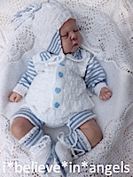KNITTING PATTERN KSB 57 *HOP SCOTCH* TO MAKE CARDIGAN, PANTS, HELMET AND BOOTIES FOR A BABY BOY OR REBORN DOLL.