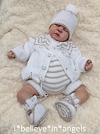 KNITTING PATTERN KSB 58 *COOKIE* TO MAKE CARDIGAN, PANTS, BEANIE HAT AND BOOTIES FOR A BABY BOY OR REBORN DOLL.