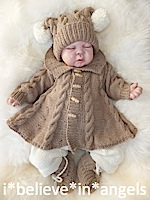 KNITTING PATTERN  KSB 60.  MONDAY'S CHILD. A MATINEE COAT, TROUSERS, HAT AND SLIPPERS SET 0 -3 MONTHS SIZE