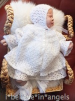 KNITTING PATTERN KSB..61**ARABESQUE**A VINTAGE STYLE MATINEE COAT, DRESS, ROMPERS, BONNET AND BOOTEES TO FIT 0 - 6 MONTHS