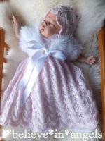 KNITTING PATTERN KSB..62**CHANTILLY** A BEAUTIFUL SPECIAL OCCASION DRESS AND SHRUG TO FIT 0 - 6 MONTHS
