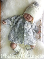 KNITTING PATTERN  KSB 63.  TUESDAY'S CHILD. A MATINEE COAT, PANTS, HELMET AND BOOTIES SET 0 -3 MONTHS SIZE
