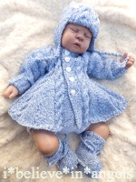 KNITTING PATTERN  KSB 64.  WEDNESDAY'S CHILD. A MATINEE COAT, PANTS, HELMET, BEANIE AND BOOTIES SET 0 -3 MONTHS SIZE
