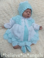 KNITTING PATTERN KSB 67 *COOKIE'S LITTLE SISTER* TO MAKE COAT, DRESS, ROMPERS, BONNET AND SHOES FOR A BABY GIRL OR REBORN DOLL.