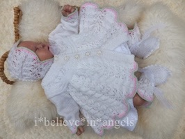KNITTING PATTERN  KSB 74...DARLING BUDS.. A LACY MATINEE COAT, BONNET AND BOOTIES SET 0 -3 MONTHS SIZE