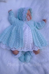 KNITTING PATTERN..KSB 98. TO MAKE WINTER JASMINE. Matinee coat, dress, rompers, hat and booties in 3 sizes.