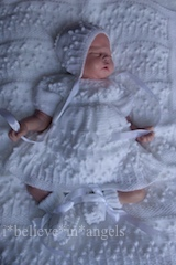 KNITTING PATTERN KSB..101, PEARL'S FLOWERS. COAT, CARDIGAN, DRESS, HAT, BONNET, BOOTIES AND BLANKET, IN 4 SIZES.
