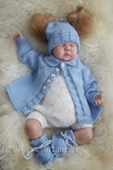 KNITTING PATTERN KSB..102. PETER AND PRUDENCE, COAT, ROMPERS, HAT AND BOOTIES, IN 3 SIZES.