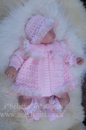 KNITTING PATTERN KSB . 103. BELOVED, COAT and CARDIAGN, ROMPERS, HAT AND BOOTIES, IN 3 SIZES.