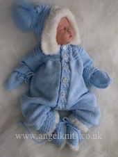 KNITTING PATTERN.. PROMISES... FOR A ONESIE WITH HOOD, MITTS AND BOOTIES, WRITTEN IN 3 SIZES.