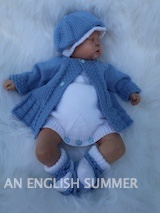 KNITTING PATTERN KSB..122....AN ENGLISH SUMMER. COAT, ROMPERS, BAKER BOY HAT AND CLOCHE HAT AND BOOTIES.
