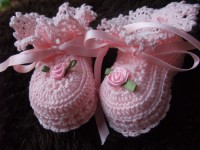 ANGEL SHOES 001..PALEST PINK THREAD CROCHET CHRISTENING SHOES