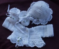 CROCHET PATTERN KSB 23*** TINY DANCER**FRILLED BOLERO, HAT & BOOTIES FOR A NEWBORN BABY OR REBORN DOLL IN SIZES 12, 14 AND 16 INCH CHEST.