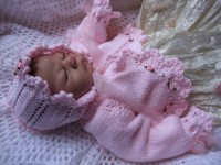 KAM 155..PALEST PINK CHRISTENING CARDIGAN HAT AND SLIPPERS 0-6 MTHS.
