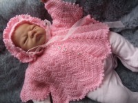 KAM 158..DELICATE LITTLE ANGEL SET IN PINK YARN WITH A FLUFFY AND SPARKLY FINISH. 0-3 MTHS.