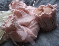 KAM 161..LOVELY SOFT PINK AND SILVER CARDIGAN AND HAT FOR 3-6 MTH BABY GIRL
