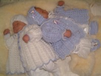 CROCHET PATTERN  KSB 3**CUDDLY TWINS ****MATINEE SETS FOR BABY BOYS AND GIRLS*** 0-6 MTHS.