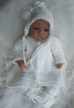 CROCHET PATTERN KSB 30...LIBERTY. SHAWL AND MATINEE SET IN SIZES 12-14-16 FOR BABY OR REBORN DOLL