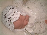 CROCHET PATTERN KSB 1LITTLE FAN** CHRISTENING GOWN SET 0-6 MTHS.