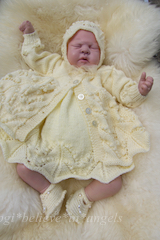 KNITTING PATTERN KSB..93 TO MAKE GILLYFLOWER...MATINEE COAT, DRESS, BONNET AND AND SHOES