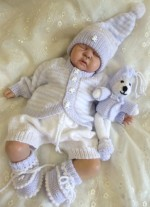 KNITTING PATTERN KSB 32***WILL AND TED***STRIPED CARDIGAN, HAT SHORT TROUSERS BOOTIES AND TEDDY TOY SET TO MAKE FOR YOUR BABY OR REBORN DOLL