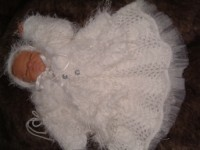 KNITTING PATTERN KSB 11***ANGELS ARE WATCHING.***DRESS, MATINEE COAT HAT AND BOOTIES SET FOR A BABY GIRL/REBORN DOLL