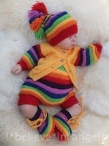 KNITTING PATTERN  KSB 88..SING A RAINBOW. CARDIGAN, PANTS, HATS AND BOOTIES. 2 VARIATIONS AND 3 SIZES.